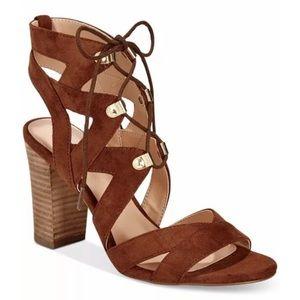 NEW XOXO Women's Barnie Gladiator Heel Sandals Tan